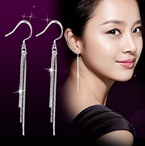 Pendientes Colgantes de Cadena de línea de Oreja con Colgante de Plata de Ley 925 para Mujer, joyería Minimalista Elegante con Borla Larga