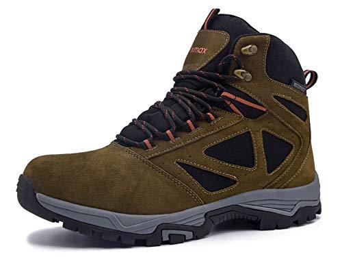 Botas de Montaña para Hombre, Zapatillas de Senderismo Impermeable Antideslizante Zapatos de Deporte Exterior Calzado de Alta Caña Trekking Sneakers (Marrón, Gris, Azul)