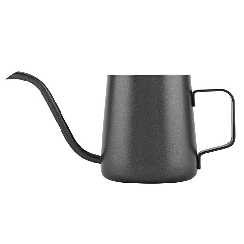 Bouilloire à café en acier inoxydable généreuse et élégante facile à tenir, tasse à café, théière en acier inoxydable simple, cuisine de qualité(Teflon black)