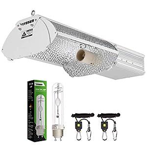 VIVOSUN 5-Mode-Adjust 315W CMH/CDM Grow Light Fixture with 315W Bulb and and 1 Pair Rope Hanger, ETL Listed, High-Reflectivity Vega Aluminum Hood (Upgraded Version)