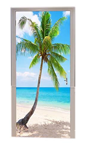 A.Monamour Türtapeten Selbstklebend 3D Tropischer Strand Mit Kokospalme Thailand KOH Lanta Inselnaturlandschaft Türtapete Türposter Tapete 77x200cm