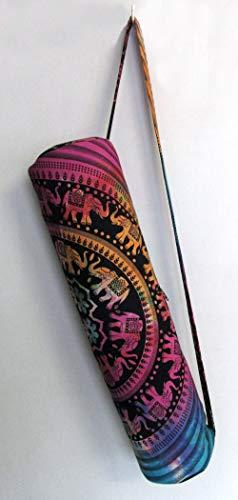 Indian Craft Castle Elefant Hippie Yogamatte Tragetasche mit Schultergurt Yogamatte Tasche Turnbeutel Strandtasche (Multi Up Elefant)