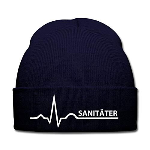 Spreadshirt Sanitäter Herzschlag Rettungsdienst EKG Wintermütze, Navy