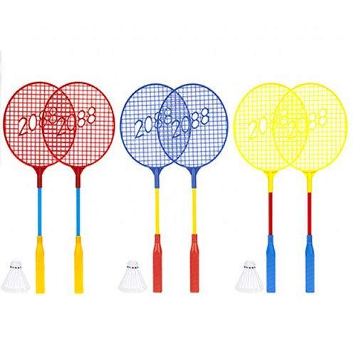 PMS Kinder Badminton-Set, leicht, Kunststoff, 2 x farbige Schläger und 1 x Federball, Gartenspiel