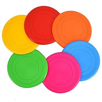 Millya UK Lot de 6 frisbee en silicone pour chien Multicolore
