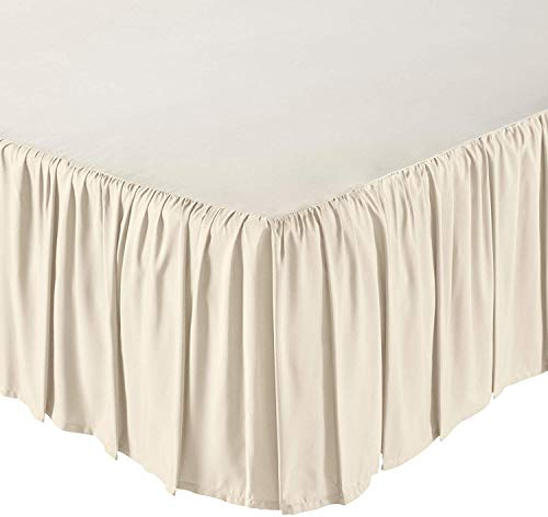 Mattress-Homes Ruffled Bed Skirt- 10 Inch Drop (Full, Ivory) Dust Ruffle with Platform (Available in All Bed Sizes and Colors)