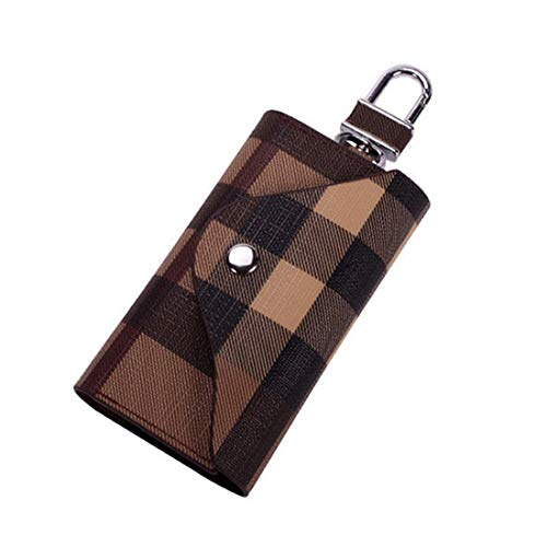 Women Men Leather Car Key Chain Card Holder, Money Wallet Pouch Case 6 keys Organizer Bag Case (Brown)