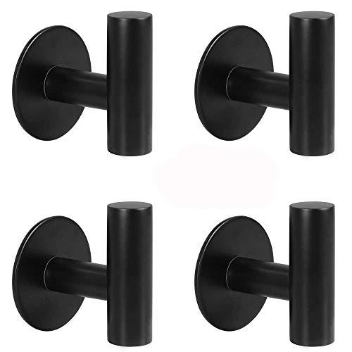 Self-Adhesive Hooks, Heavy Duty Kitchen Bathrooms Robe Black Hooks, Towel Stands Sticky Wall Hook, Toilet Waterproof and Rust-Proof Bath Towel Hooks - 4 Packs