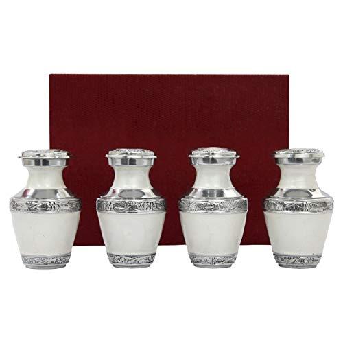 Solace Forever - Set di 4 mini urne bianche – confezione premium e sacchetti inclusi – Urne funerarie per ceneri, per adulti – Urne bianche – Onora il tuo amato uno con Urna bianca smaltata