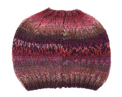 HatQuarters colorful Crochet Knit Messy Mom Bun Beanie, toboggan Hat For Women With Ponytail Hole, Blue, Purple & Pink Ombre, One Size
