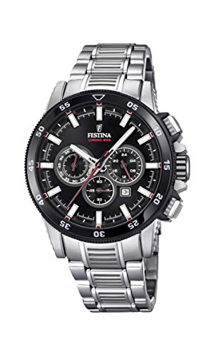 Festina Herren Chronograph Quarz Smart Watch Armbanduhr mit Edelstahl Armband F20352/6