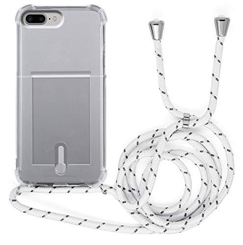 MyGadget Funda Transparente con Cordón para Apple iPhone 7 Plus / 8 Plus - Carcasa Portatarjetas con Cuerda y Esquinas Reforzadas en Silicona TPU - Blanco