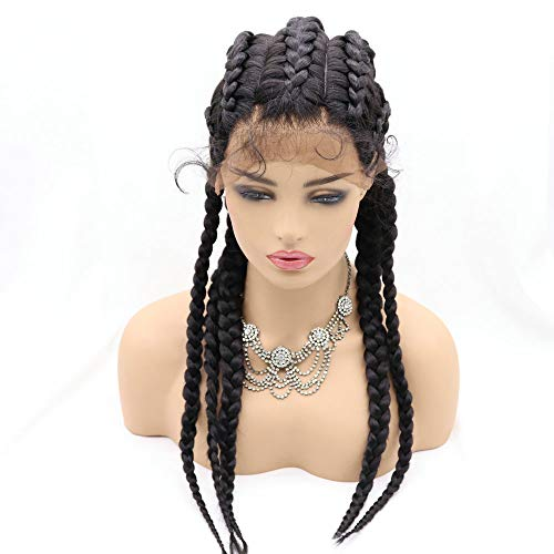 32inch 5 Twist Braids Lace Front Wigs Long Braided Synthetic Wigs with Baby Hair Lightweight 1B Black Braid Wig for Women Cosplay Party RainaHair…