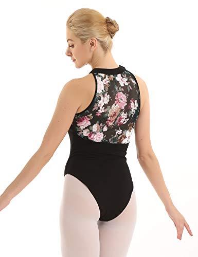 iiniim Maillot de Ballet para Mujer Leotardo Gimnasia Algodón sin Mangas Espalda Estampado Floral Body de Danza Baile Negro Clásico Negro Medium