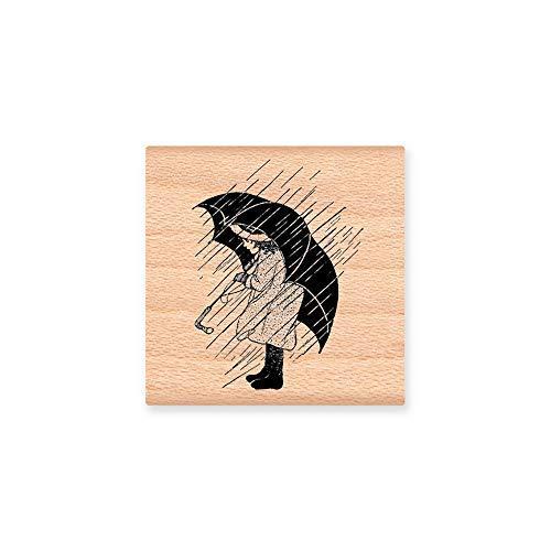 qidushop Holzschild mit Regenschirm, Motiv Rainy Day Little Girl In Rain mit Regenschirm, mit Sprüchen