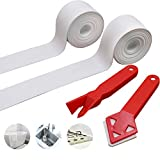 SnailGarden 2 Roll White Bathtub Sealing Strip & 2 Pcs Caulking Tool,Self Adhesive