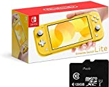 "Newest Nintendo Switch Lite - 5.5"" Touchscreen LCD Display, Built-in Plus Control Pad, iPuzzle 128GB SD Card, Built-in Speakers, 3.5mm Audio Jack, 802.11 a/b/g/n/ac, Bluetooth 4.1, 0.61 lbs - Yellow"
