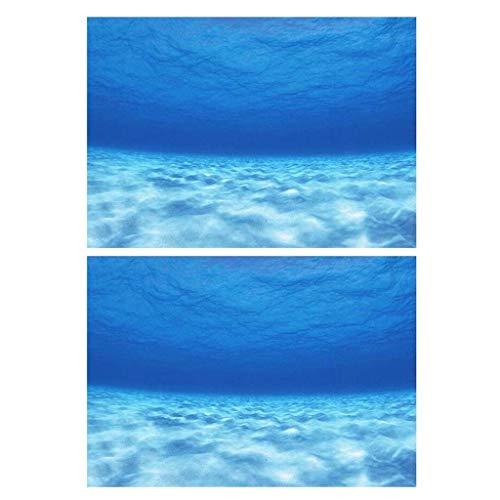 MagiDeal 2 Stück Aquarium Dekorative Plakataufkleber Tapete Landschaftsdekore Blau