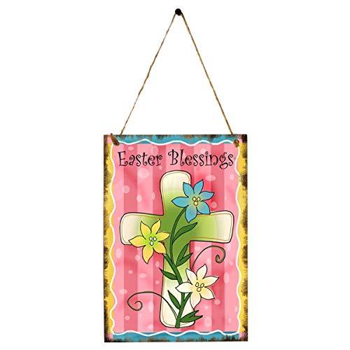 Amosfun - Pizarra de Madera de Pascua con impresión de Cruz para Colgar, decoración de Flores para Colgar en la Tienda del hogar, Fiesta, Festival, decoración