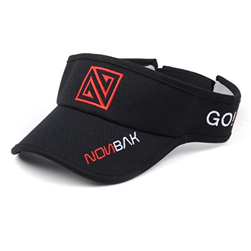 Nonbak Visera/Visor Unisex Talla única Muy Ligera Running, Deportes Outdoor, Aire Libre, Casual, (Negra/Roja)