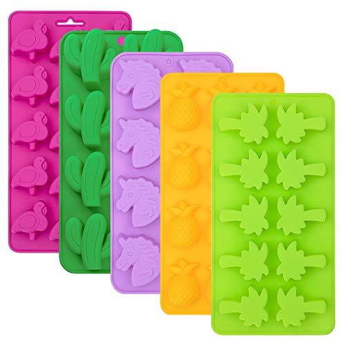 Danolt 5 Pcs Schokoladen Silikon Formen, Silikon-Formen für Süßigkeiten, Eiswürfel, Gummibärchen form, Schokolade, Gelee, Seife (Zufällige Farbe)