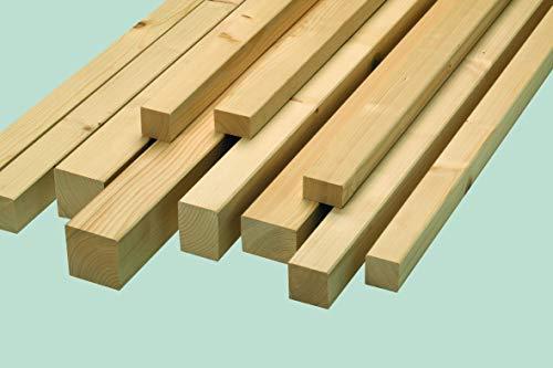 Rettenmeier 54x54x2000mm 6 Stück Bauholz gehobelt getrocknet gefast Fichte/Tanne massiv, holzfarben, Natur