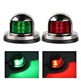 Acelane One Pair LED Navigation Lights Red and Green Lights Marine Sailing Signal Lights Stainless Steel 12V Bow Side Port Starboard for Boating Fishing Yacht, Pontoons, Chandlery Boat (ACE-01)