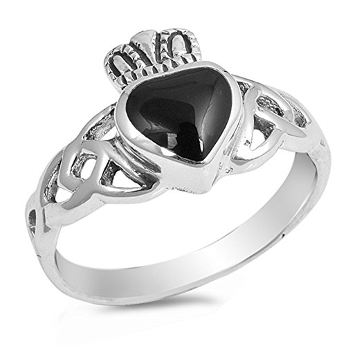 Simulated Black Onyx Heart Claddagh Celtic Knot Ring .925 Sterling Silver Band Size 8