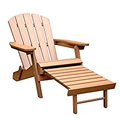 Faux Wood Folding Adirondack Chair with Pullout Ottoman