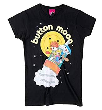 Women's Button Moon Black Tee, S to XL