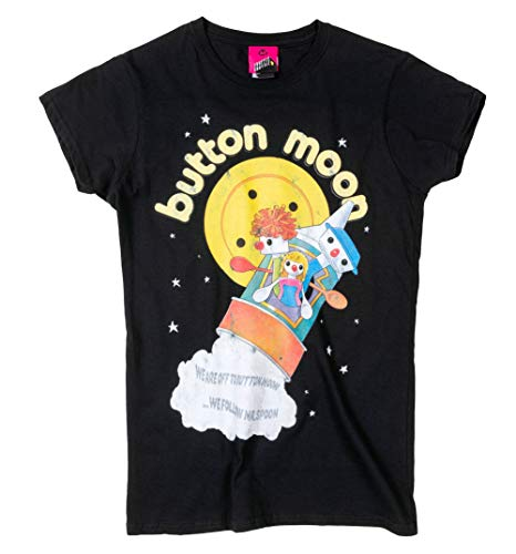 Women's Fitted Button Moon T-shirt, XS, S, M