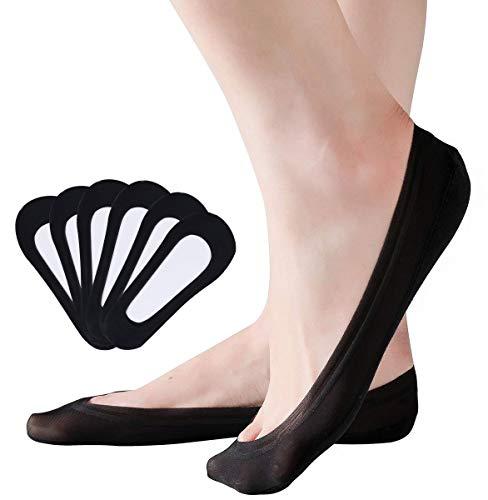 JORYEE Damen Unsichtbare Socken - 6 Paar Ballerina Baumwolle Nylon Socken Füßlinge Atmungsaktiv Unsichtbare Sneakers Socken mit Rutschfest Silikon( Größe 35-38) (Schwarz)