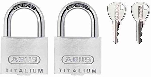 ABUS Vorhängeschloss Titalium 64TI/40 - 2er Set, gleichschließend - Schlosskörper aus Spezial-Aluminium - gehärteter Stahlbügel - ABUS-Sicherheitslevel 5 - Silber