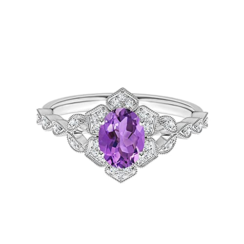 Shine Jewel Clásico Anillo de Bodas de Plata 925 con Piedras Preciosas de Amatista púrpura Ovalada Inspirada en 0.50 CTW (23)