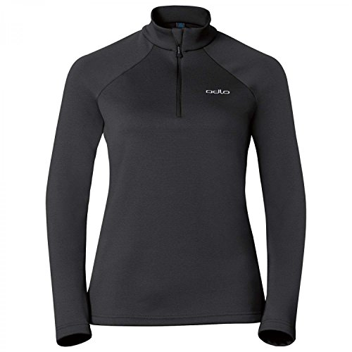 Odlo Pull Femme 1/2 Zip Snowbird, Black, FR (Taille Fabricant : XL)