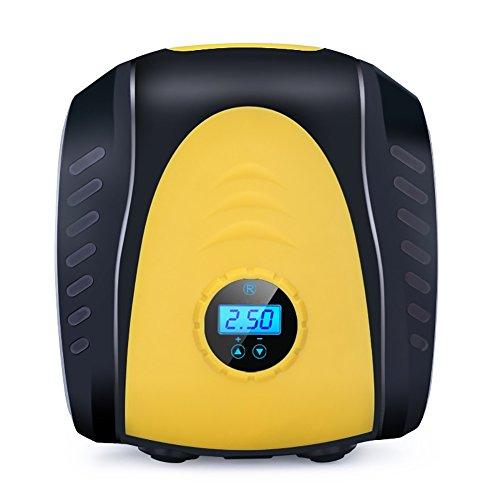 Gonfleur Pneus Voiture Allume Cigare Compresseur d'air Portable Manomètre Ecran LCD d'Affichage Numérique avec Arrêt Automatique Pompe avec éclairage à LED jeu d'adaptateurs , black