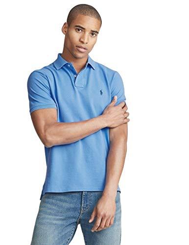 Ralph Lauren - Polo in piqué da uomo, vestibilità aderente custom slim fit Azzurro (Harbor Island Blue). XL