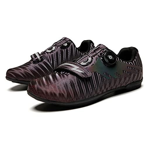 Zapatillas de Ciclismo Unisex Sin Bloqueo,Zapatos de Tacos Profesionales Transpirables MTB SPD Zapatos Planos de Bicicleta de Carretera Zapatillas de Bicicleta Tamaño 36-45,Brown-45