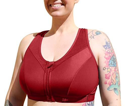 Yvette Limitless damski sportowy biustonosz duży rozmiar duży wpływ duże rozmiary zapięcie na zamek błyskawiczny z przodu kobiecy do biegania, fitnessu, jogi