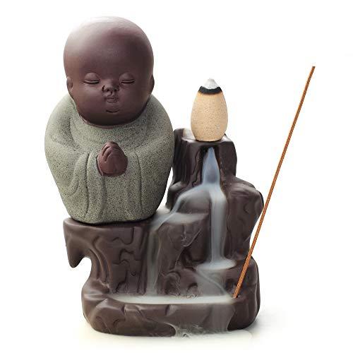 WANGPIN Incense Burner Backflow Tower Cones Sticks Holder Ceramic Porcelain Buddha Monk Ash Catcher (Gray Green)