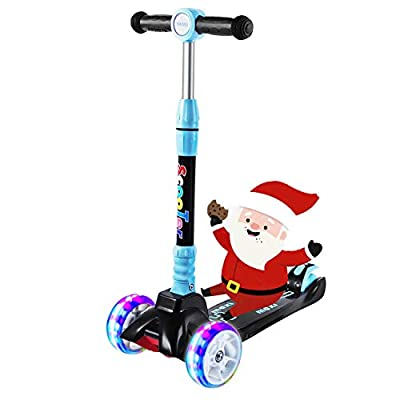 SULIVES Kick Scooter for Kids 3 Wheel Scooter 3 Adjustable Height Lean to Steer with PU Flash Wheel for Ages 3-5 6-12 Children Girls and Boys Blue