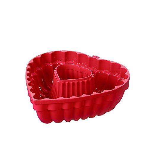 Kaiser Moule en Silicone en Forme de cœur Moule à gâteau Diamètre 27 cm 100% Silicone, antiadhésif, brunissement Uniforme, Forme Haute stabilité et Flexibles, Passe au Lave-Vaisselle, Rouge