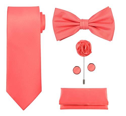 Tie G U Style - Männer Set mit 5 Krawatten in einer Geschenkbox: Krawatten-Sets: Einfarbige Krawatte, Satin-Fliege, Einstecktuch, Revers, Manschettenknopf (A - Koralle)
