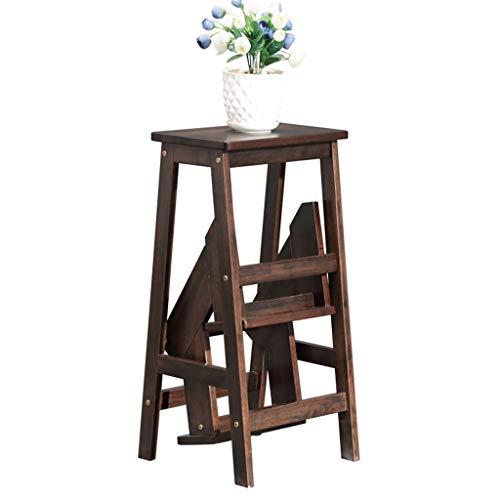 Klapptreppe Klapptritt Klappstufen Tritthocker 3 stufen Holz / Leiter Stuhl Schemel Treadle Leichtgewicht und Falten Haushalt Zuhause Bibliothek Dachgeschoss Schwerlast Kapazität150 kg