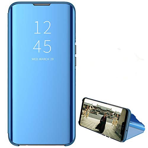 Custodia® Mirror Plating Clear View Stand Function Flip Case Compatible for Xiaomi Redmi 10X 4G/Xiaomi Redmi Note 9 (Sky Blue)