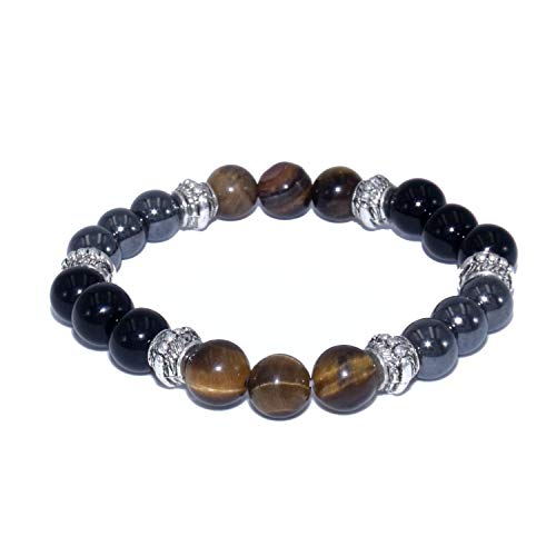 Triple protection bracelet with tiger eye obsidian and hematite natural stones, size 6.7'', stone beads 0.32'', metal beads 0.2''.
