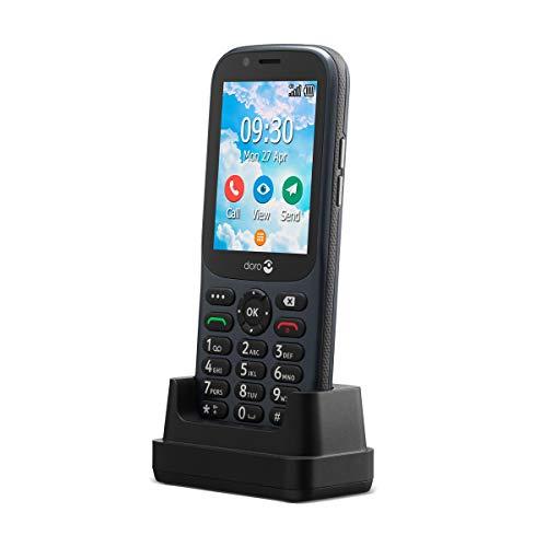 Doro 730X 4G GSM Mobiltelefon mit großem Farbdisplay, 3MP Kamera, IP54 Wasserdicht, Notruftaste, Dual SIM, Whatsapp, Facebook, inkl. Tischladestation, Graphit, 380472
