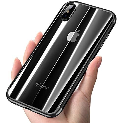 Suhctup Coque Transparente Compatible pour Huawei P Smart Plus 2019 Ultra Fine en Silicone Glitter Plating Coquill Crystal Clear Housse Étui de Protection avec Absorption de Choc et Anti-Scratch(Noir)