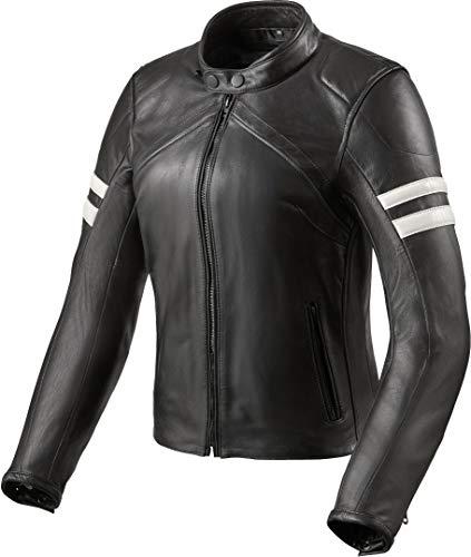 Revit Meridian Damen Motorrad Lederjacke Schwarz/Weiß 42