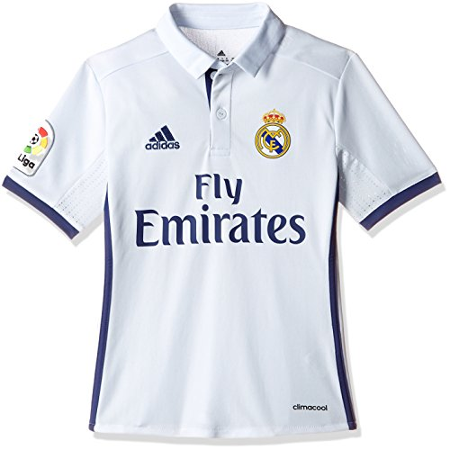 adidas Real Madrid H Jsy Y  - Camiseta Real Madrid 2016/2017 para Niños, Multicolor(Blanco / Morado), 9-10 años